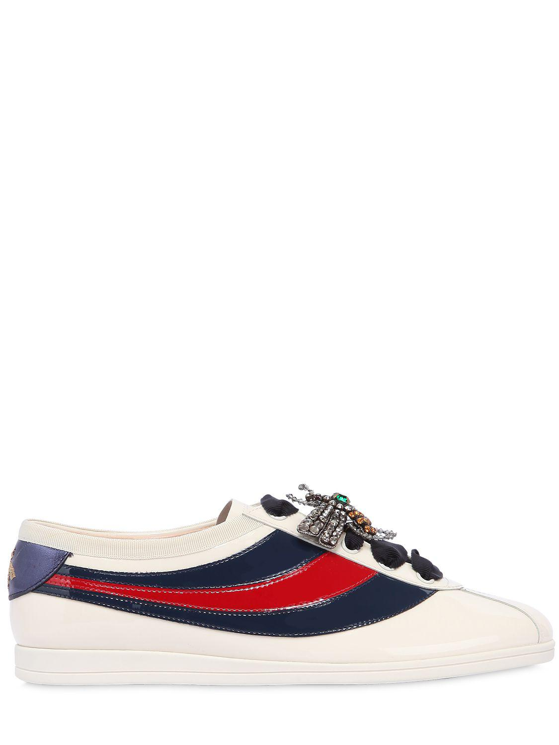 3e70e1d22f7 Gucci 10mm Falacer Patent Leather Sneakers in Blue - Lyst