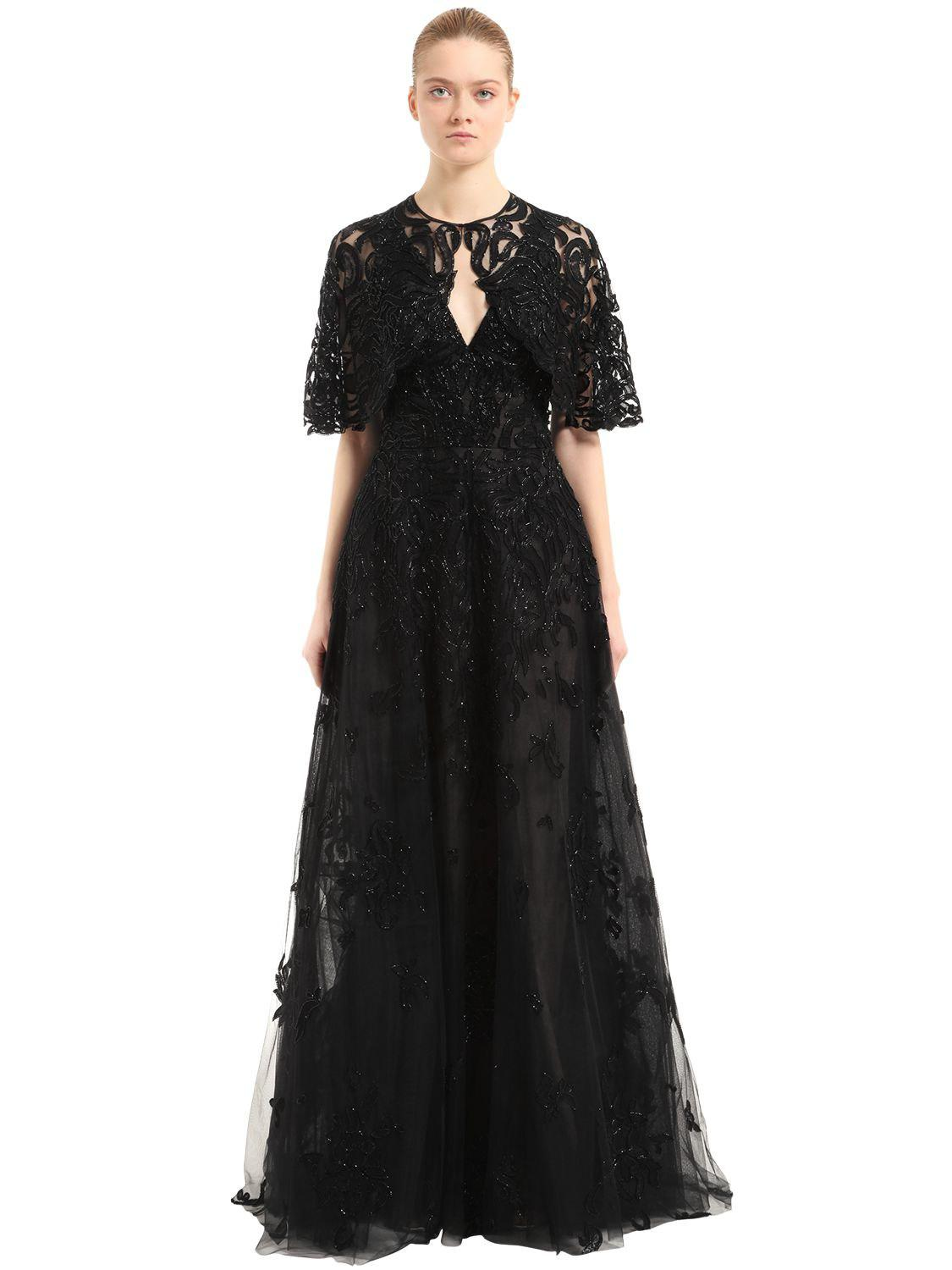 Discount Pictures Quality Free Shipping Low Price Zuhair Murad Woman Embellished Silk And Cotton-blend Voile And Velvet Mini Dress Black Size 38 Zuhair Murad Free Shipping 100% Original Outlet Low Cost gDcFAIKzF