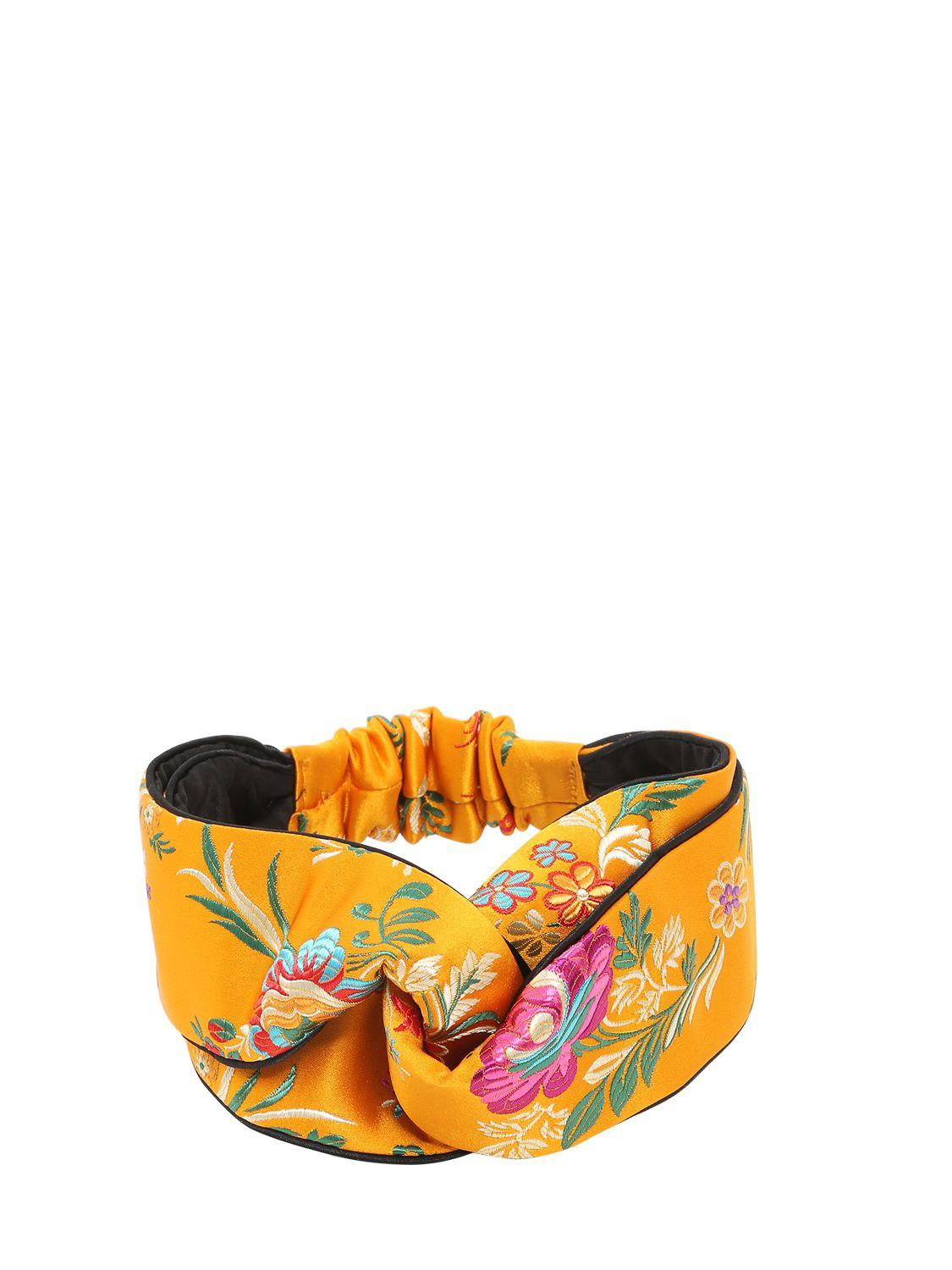 25c05568cf3 Lyst - Gucci Tokyo Printed Silk Knot Headband in Yellow