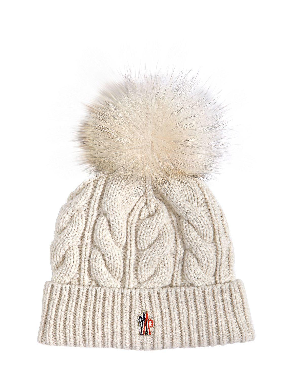 abaf216fc Moncler Grenoble Wool   Cashmere Knit Hat W  Fur Pompom in Natural ...