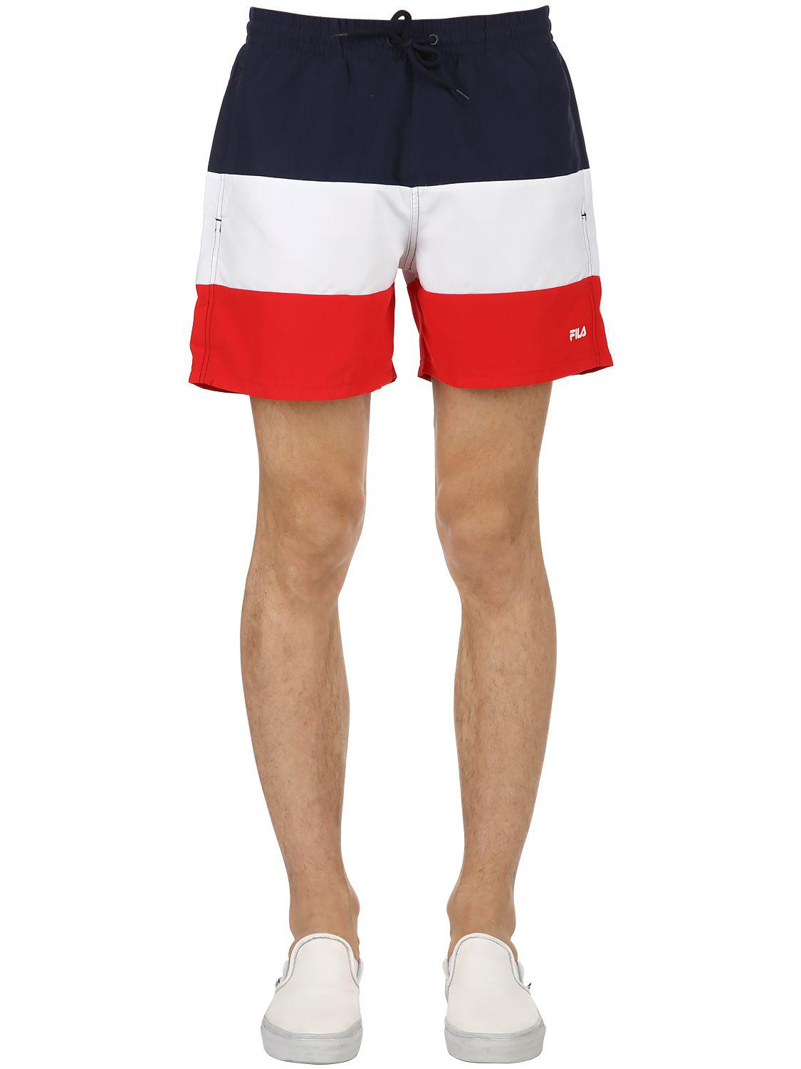 Fila. Men\u0027s Red Color Block Logo Swim Shorts