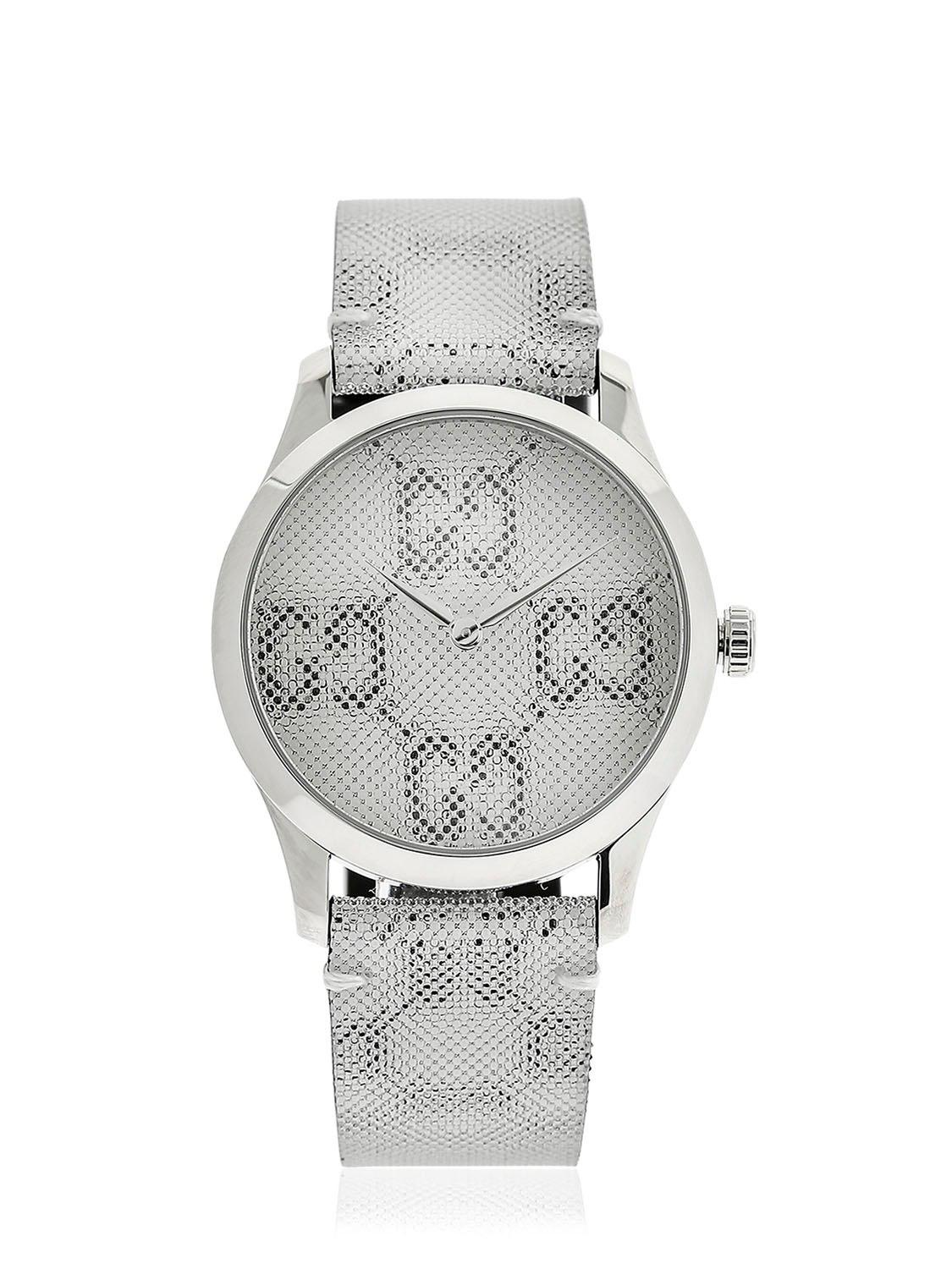 689e04c2e92 Gucci 38mm G-timeless Gg Watch in White - Lyst