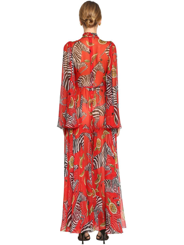 de3f60299 Vestido Largo De Chifón De Seda Estampado Cebras Dolce   Gabbana de ...