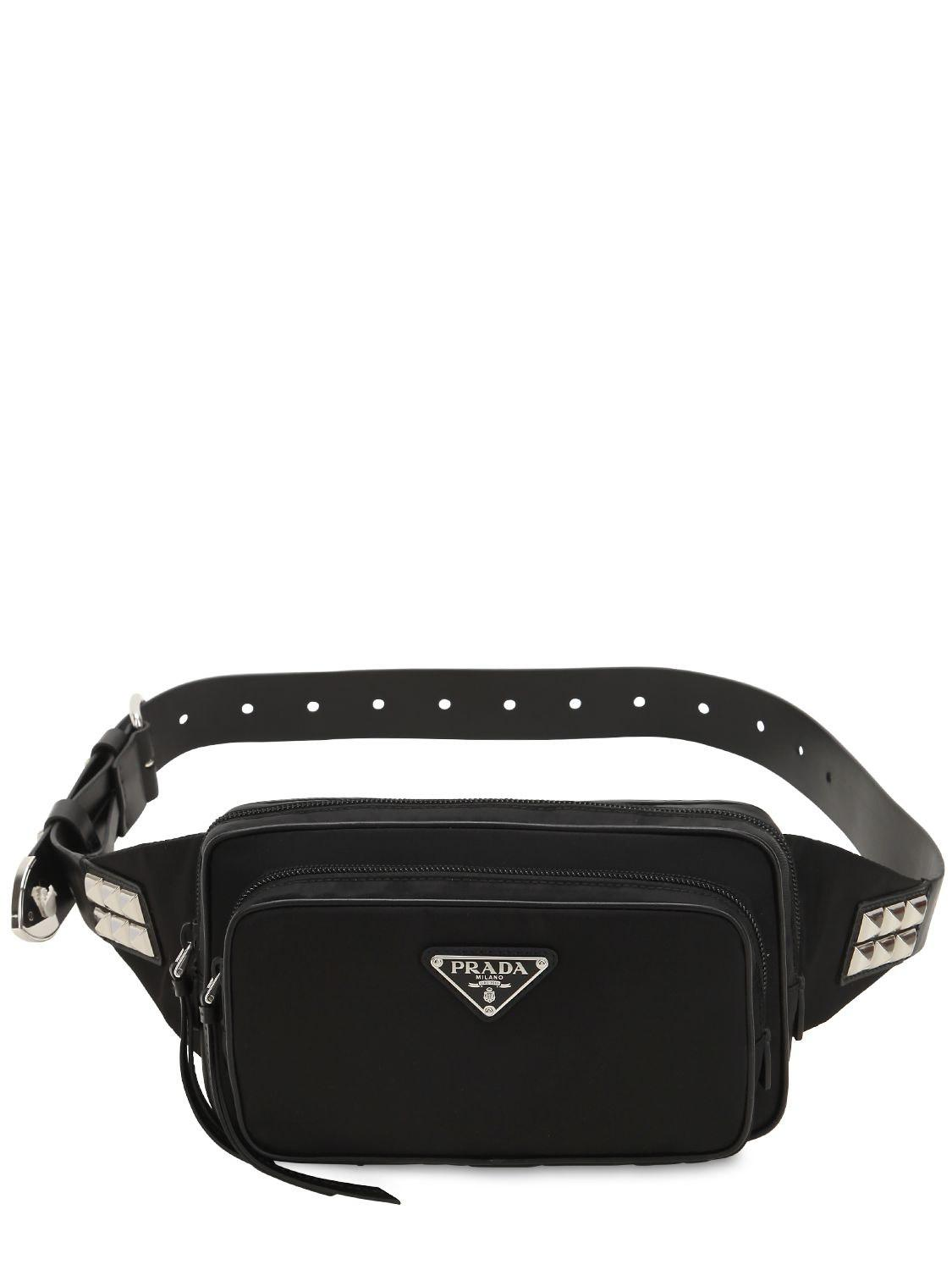 d4704bd2aef5 Prada - Black New Vela Nylon Belt Bag W  Studs - Lyst. View fullscreen
