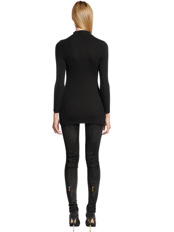 167d01b0a3 Lyst - Balmain Turtleneck Sweater Dress W  Gold Buttons in Black