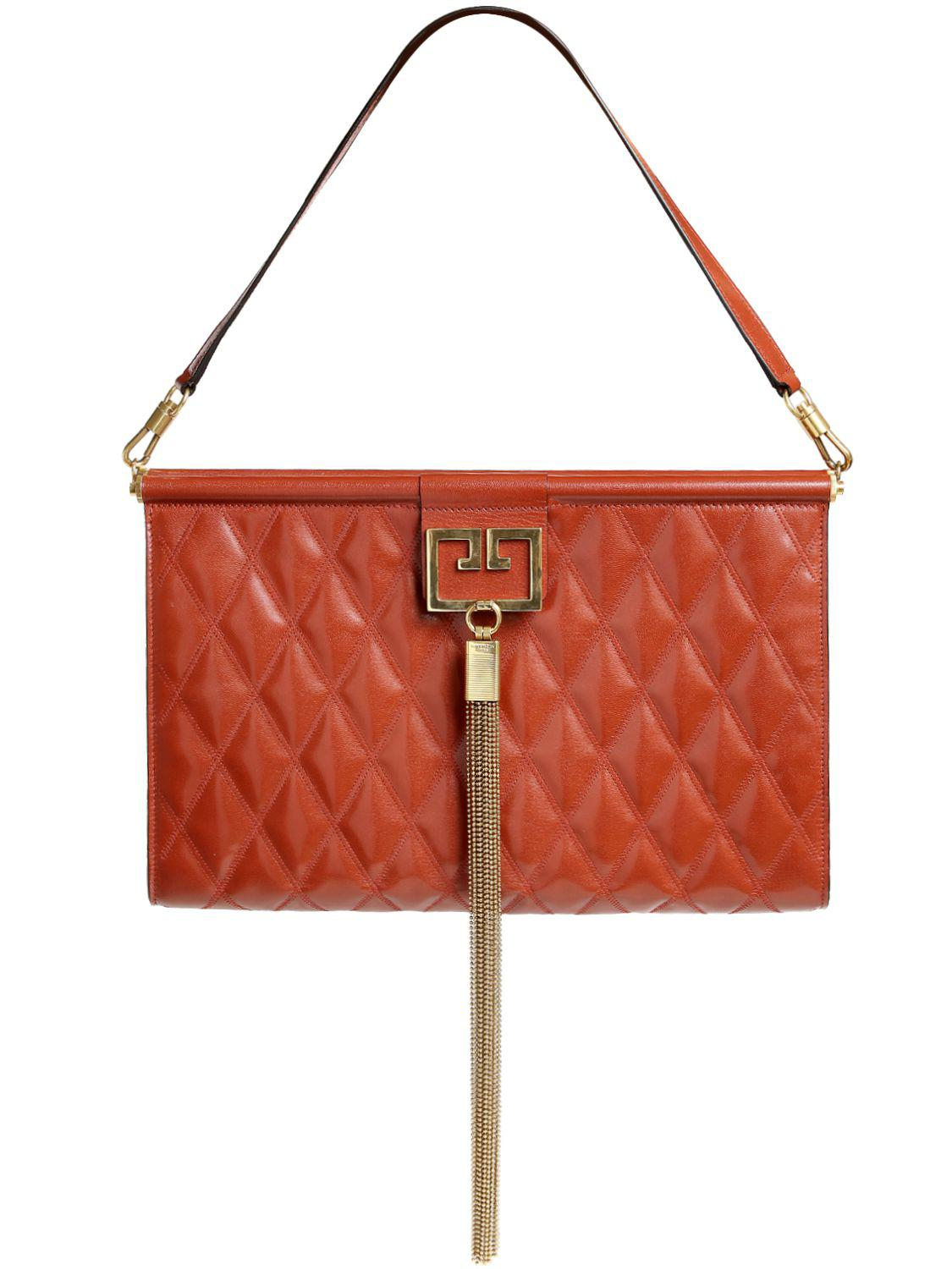 Givenchy - Red Large Gem Quilted Leather Clutch - Lyst. View fullscreen 80230062ac