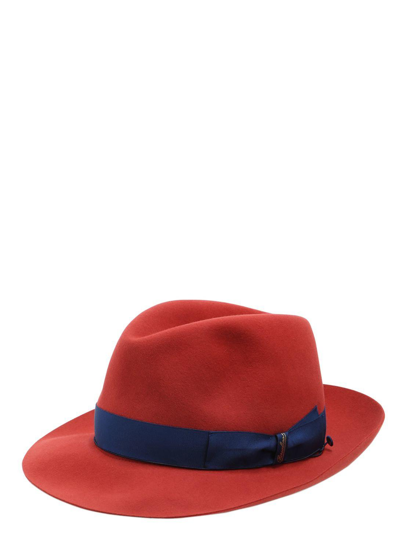 3304578f6f39f4 Borsalino 50gr Lightweight Fur Felt Hat in Red for Men - Lyst
