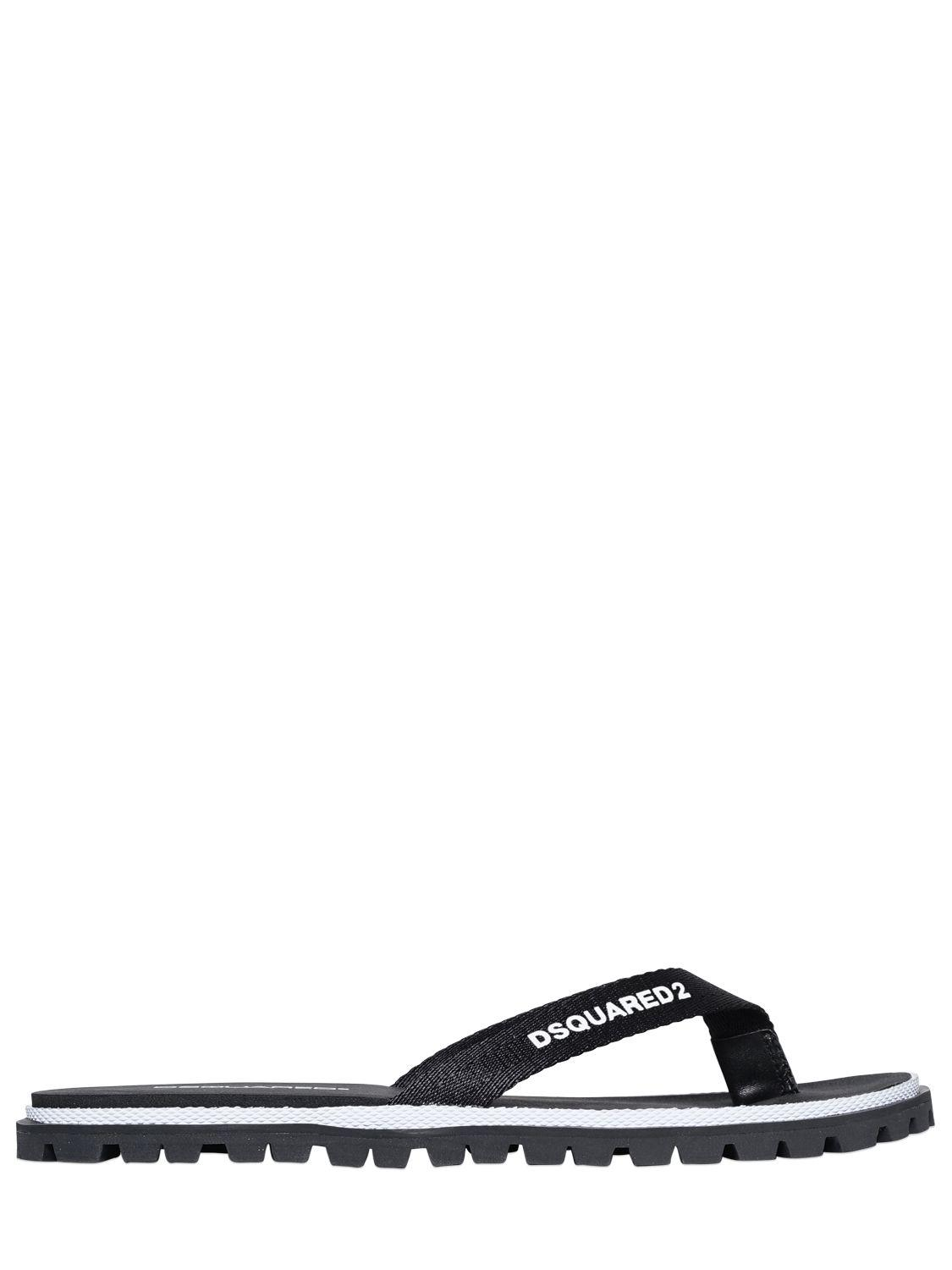 bd71459b2 Lyst - DSquared² Logo Printed Nylon Flip Flops in Black for Men