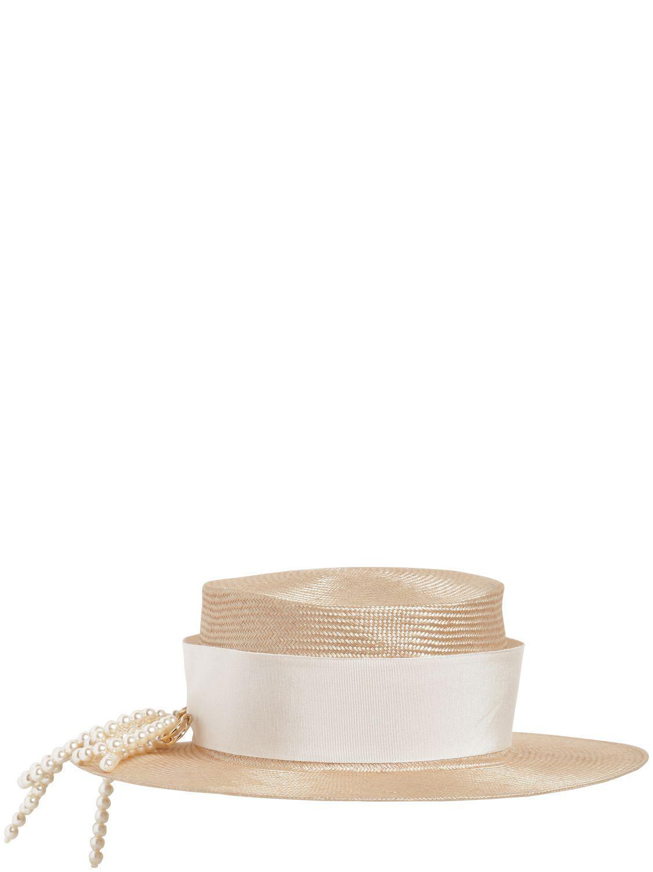 Federica Moretti - Natural Sombrero Marinero Con Broche Son Perlas - Lyst.  Ver en pantalla completa 3cbdfbf598c