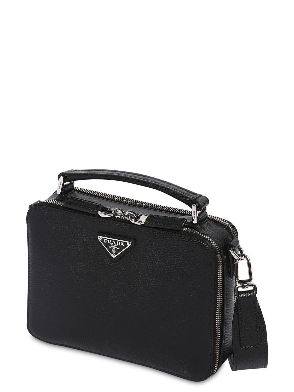 a9d372d57097 Prada - Black Saffiano Leather Travel Bag for Men - Lyst. View fullscreen