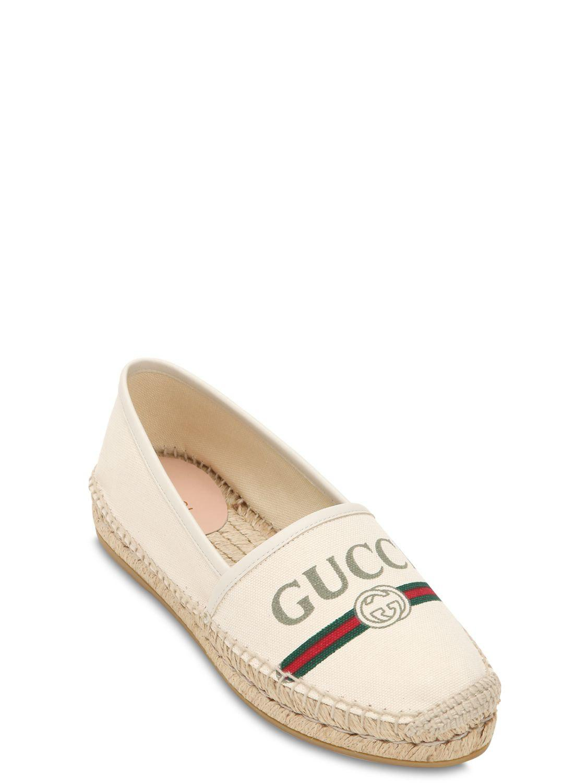 38ed7277817 Lyst - Gucci 20mm Pilar Cotton Canvas Espadrilles in White