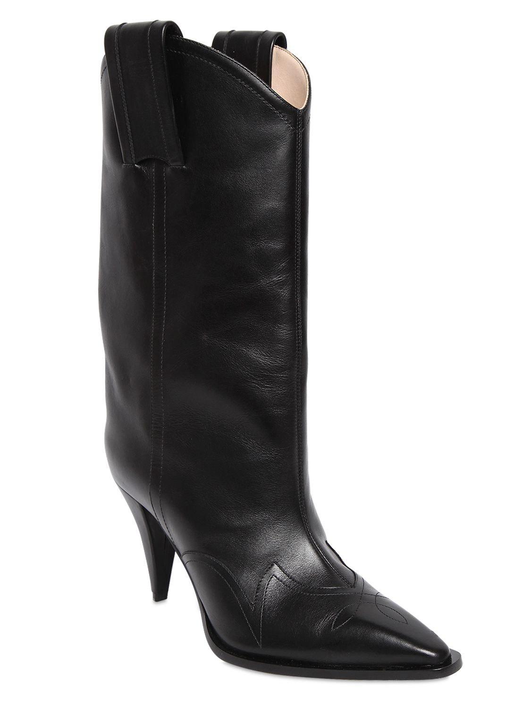 Lyst - Nina Ricci 90mm Leather Cowboy Boots in Black 64d85c2c65d