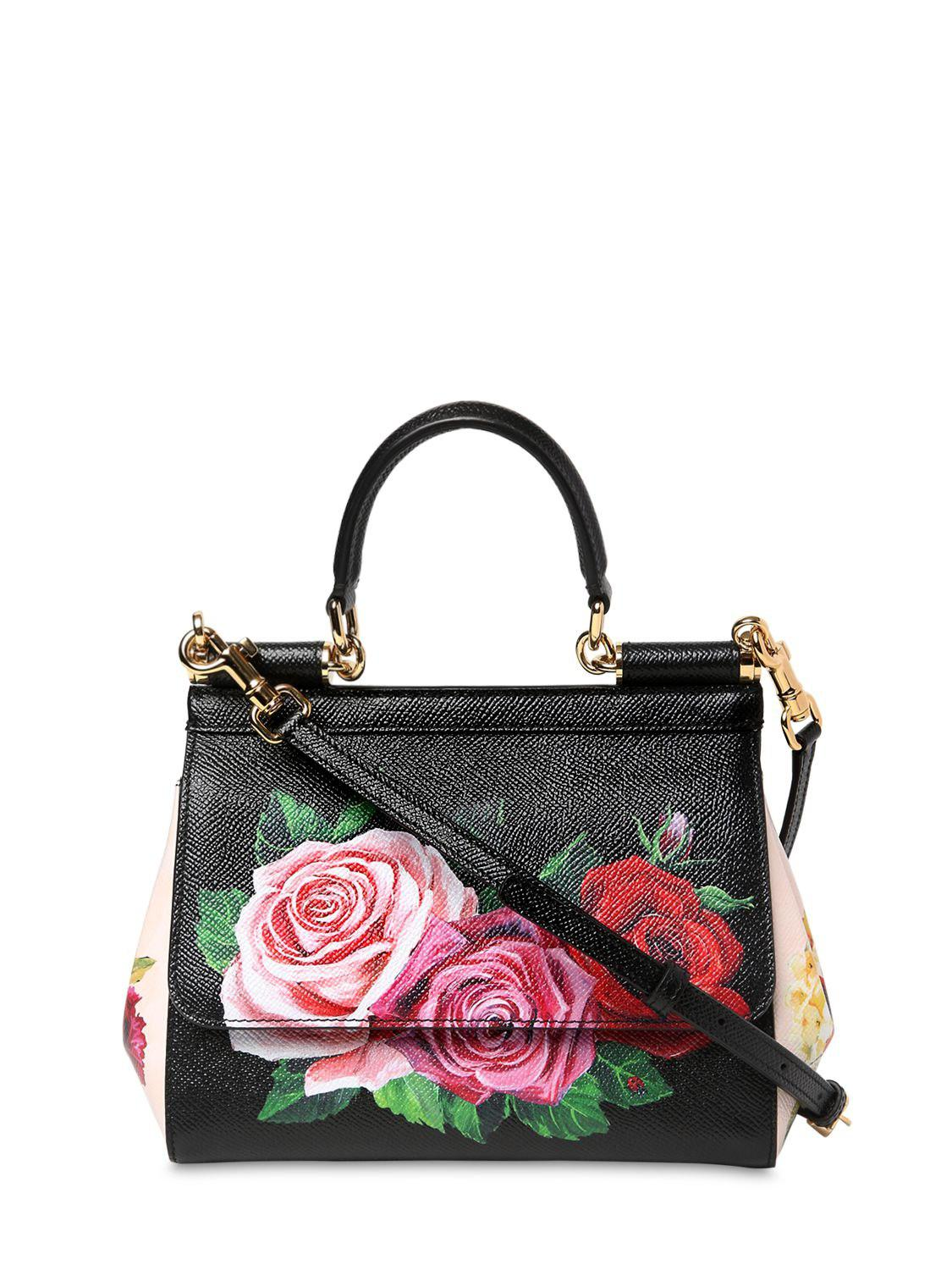 abac72b7c1 Lyst - Dolce   Gabbana Small Sicily Floral Printed Leather Bag in Black