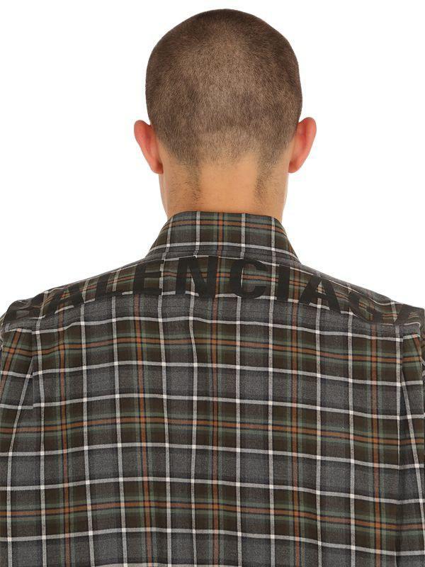 221c1517 Lyst - Balenciaga Logo Printed Flannel Check Shirt in Gray for Men - Save  43.687150837988824%