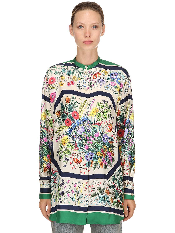 ebf279be0caa Gucci. Women s Festival Printed Silk Twill Shirt