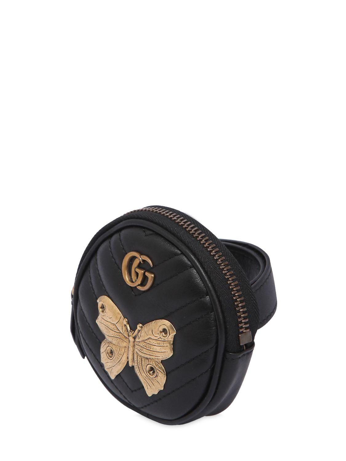 9ce793d497b7 Gucci Gg Marmont Coin Purse W/ Metal Appliqués in Black - Lyst
