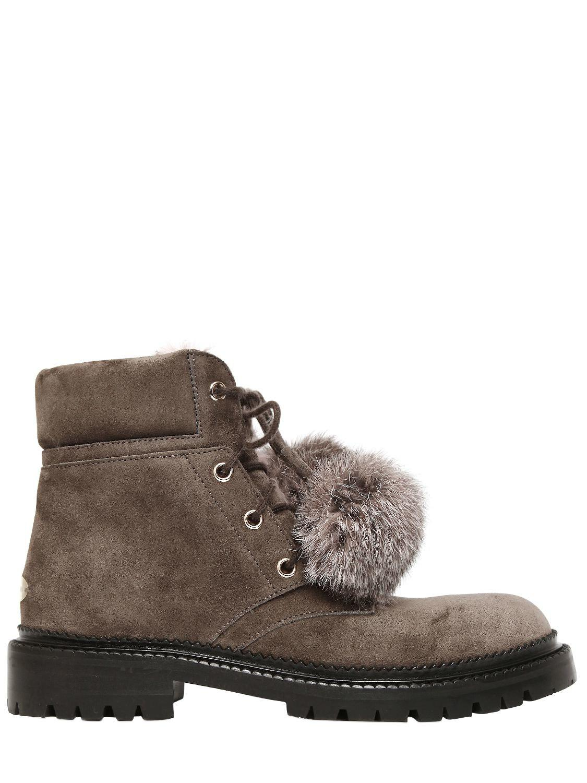 Jimmy Choo. Women's Brown 30mm Elba Suede & Fur Boots