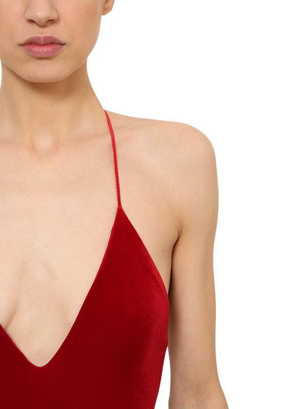 Alexandre Vauthier - Red Open Back Velvet Bodysuit - Lyst. View fullscreen 22b007404
