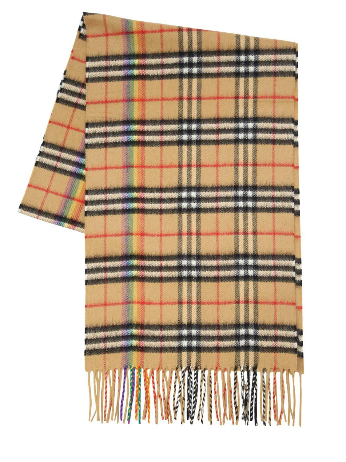 Burberry Giant Plaid Cashmere Scarf in Natural - Lyst 31940e9fffe84