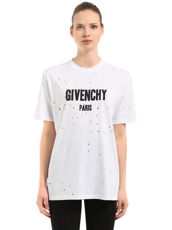Givenchy T-SHIRT EN JERSEY DE COTON AVEC LOGO IMPRIMé Pas Cher Fiable rRLFWi
