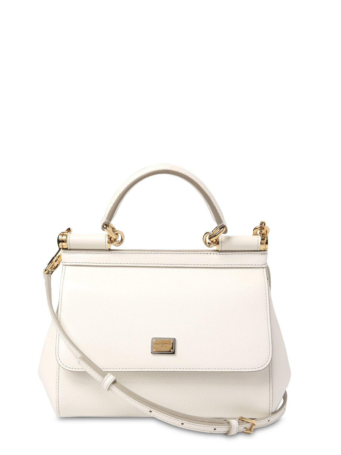 3363aa21ad Lyst - Dolce   Gabbana Small Sicily Dauphine Leather Bag in White