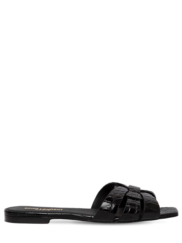 0b04cf4ac9f Lyst - Saint Laurent 10mm Nu Pied Embossed Leather Sandals in Black ...