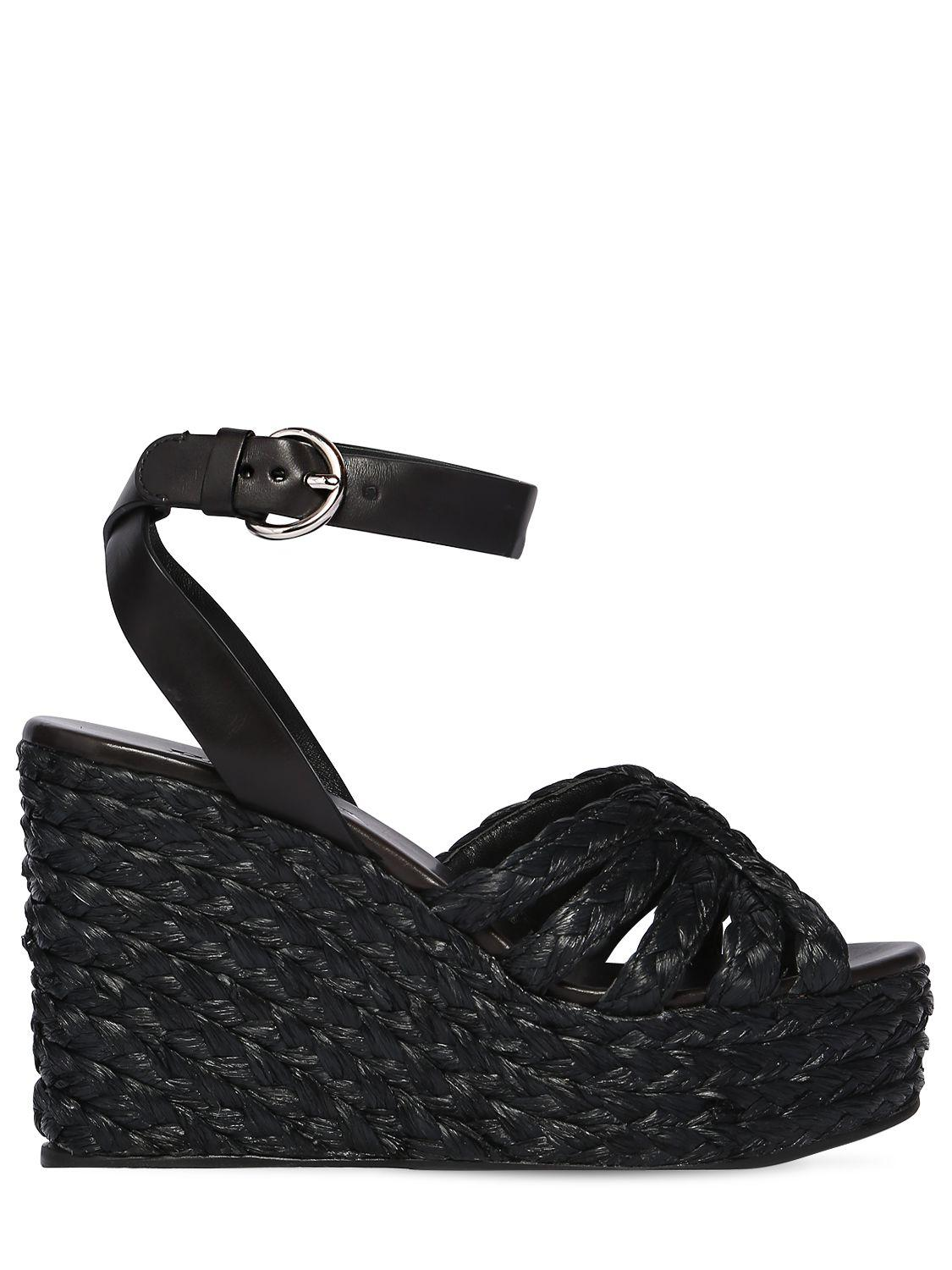 8e377784996f Lyst - Prada 105mm Woven Satin   Leather Wedges in Black