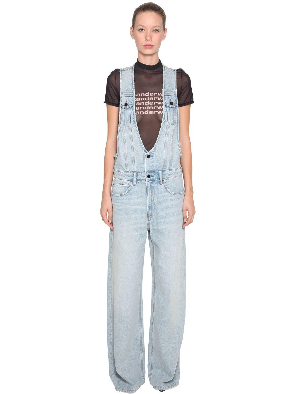 2c2651bb541e Lyst - Alexander Wang Deconstructed Wide Leg Denim Jumpsuit in Blue