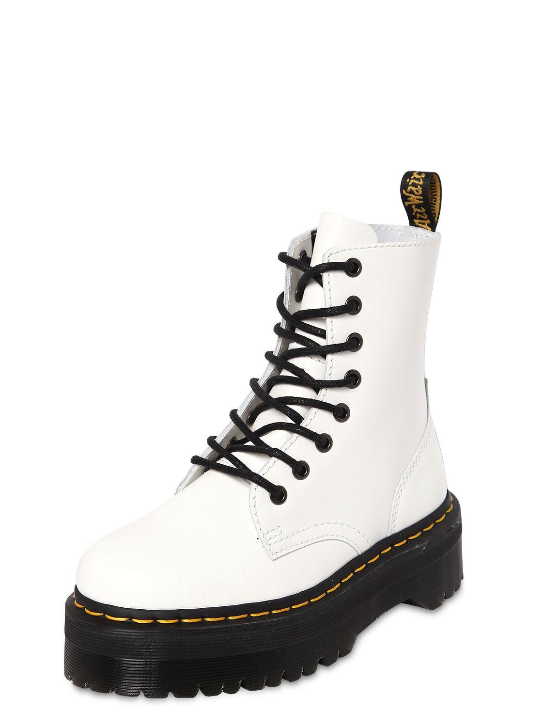 afc069df4f99 Dr. Martens 40mm Jadon Leather Boots in White - Lyst