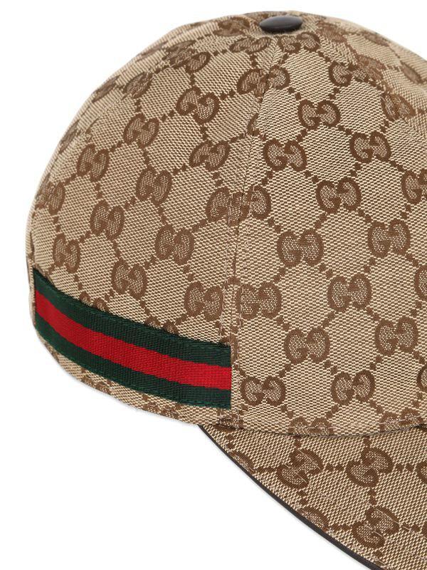 8956e067524 Gucci - Natural Gg Supreme Logo Canvas Baseball Hat for Men - Lyst. View  fullscreen