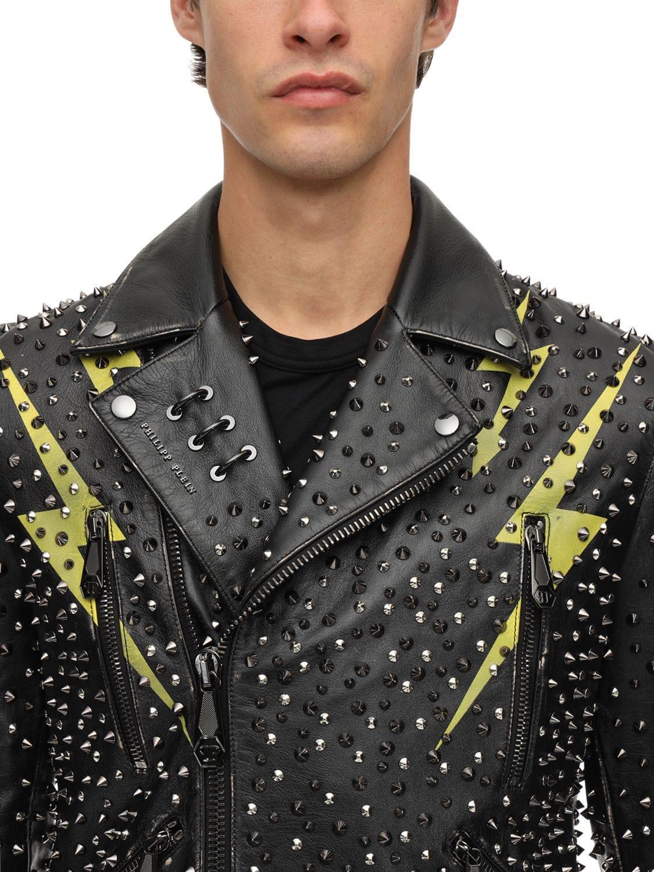 202d1c4e28 Philipp Plein Lightening Studded Leather Biker Jacket in Black for Men -  Lyst