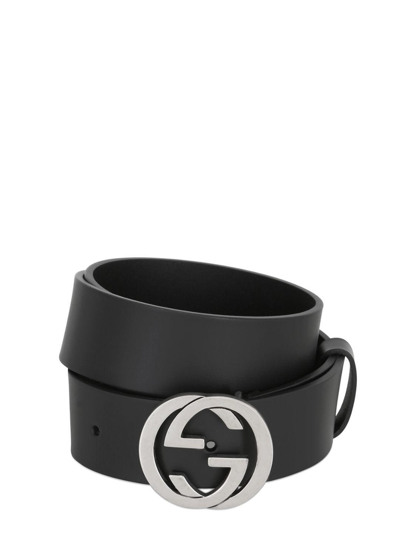 83cb6c917 Gucci 37mm Interlocking G Buckle Leather Belt in Black for Men ...