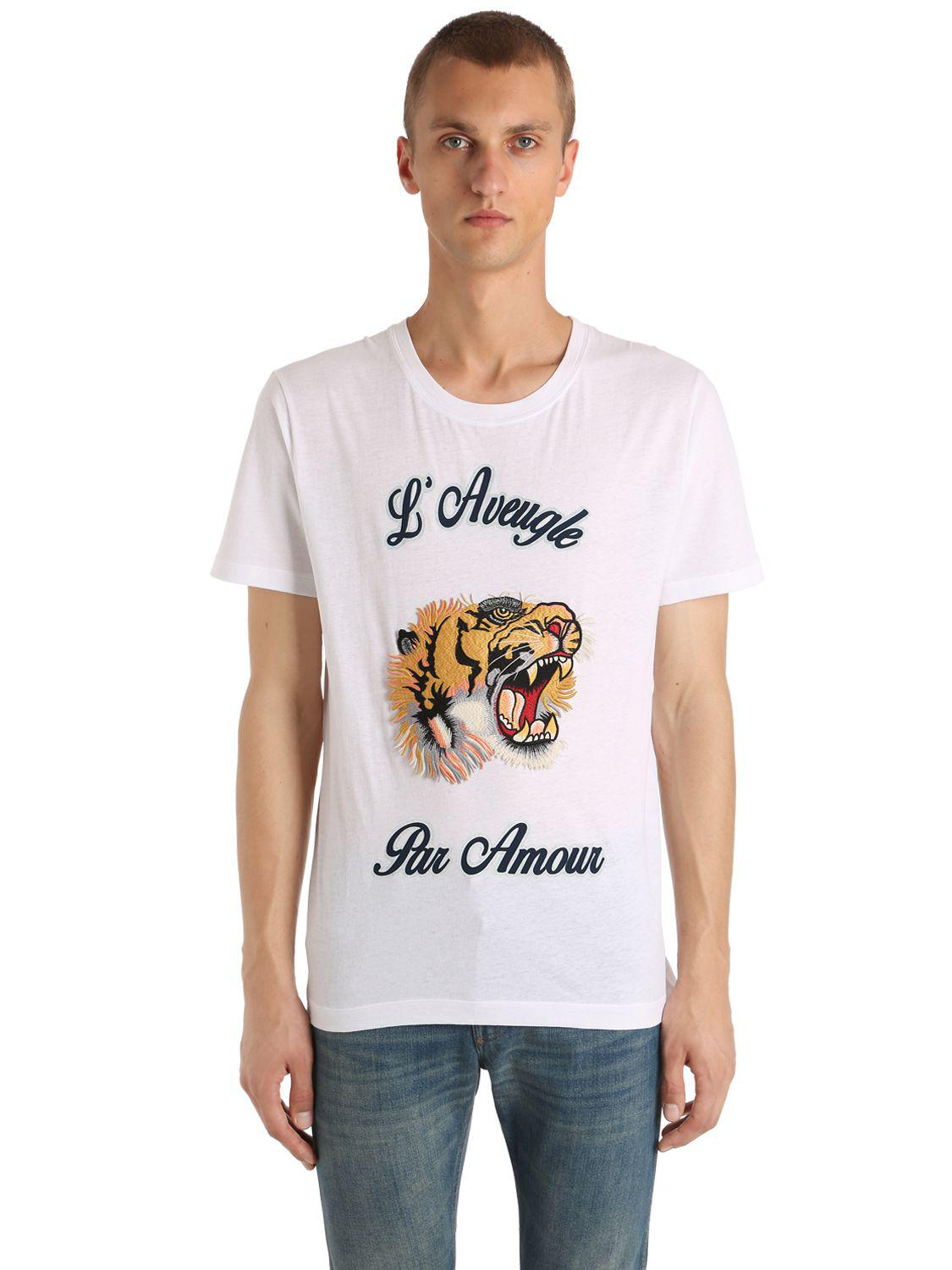 b5a6d9e69 Gucci Tiger Patch Cotton Jersey T-shirt in White for Men - Lyst