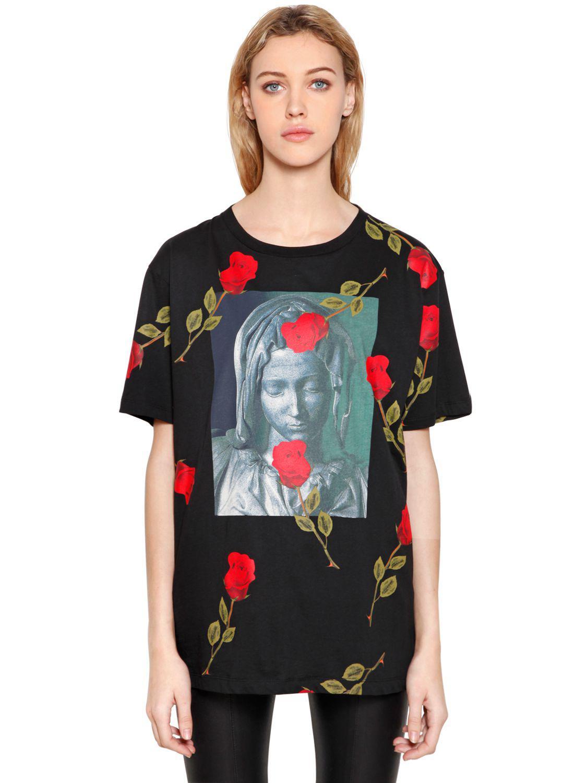 e8a3159f06d6 Lyst - Marcelo Burlon Chekkar Madonna   Roses Jersey T-shirt in Black