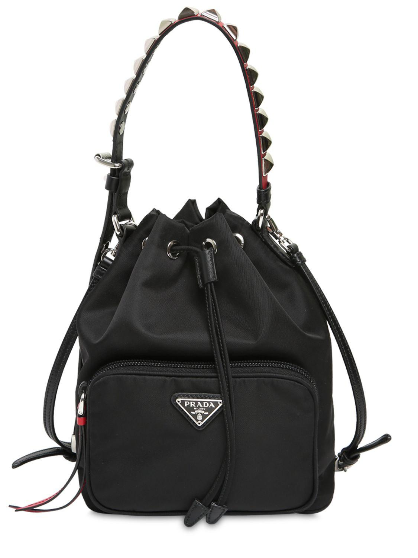 42639fe3e0d Prada - Black New Vela Nylon Bucket Bag W  Studs - Lyst. View fullscreen