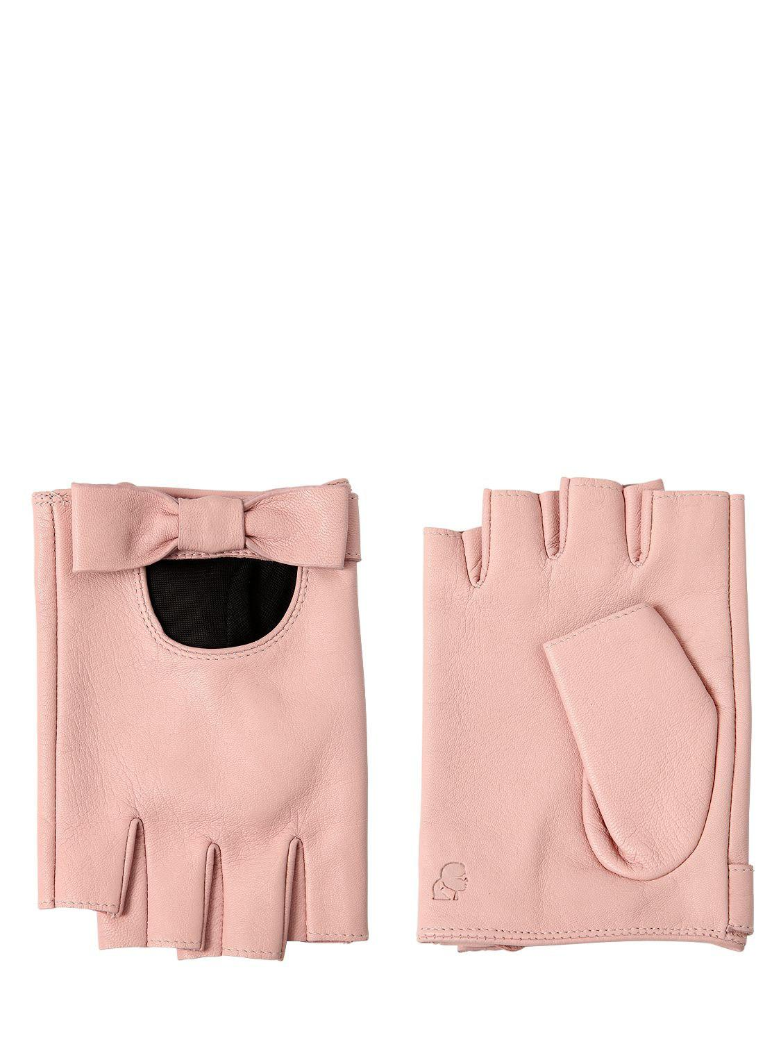 Karl Lagerfeld Bow Leather Fingerless Gloves In Pink Lyst