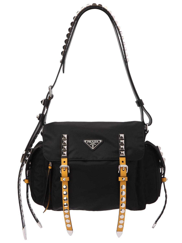 29097365545818 Prada Studded Nylon Messenger Bag in Black - Lyst