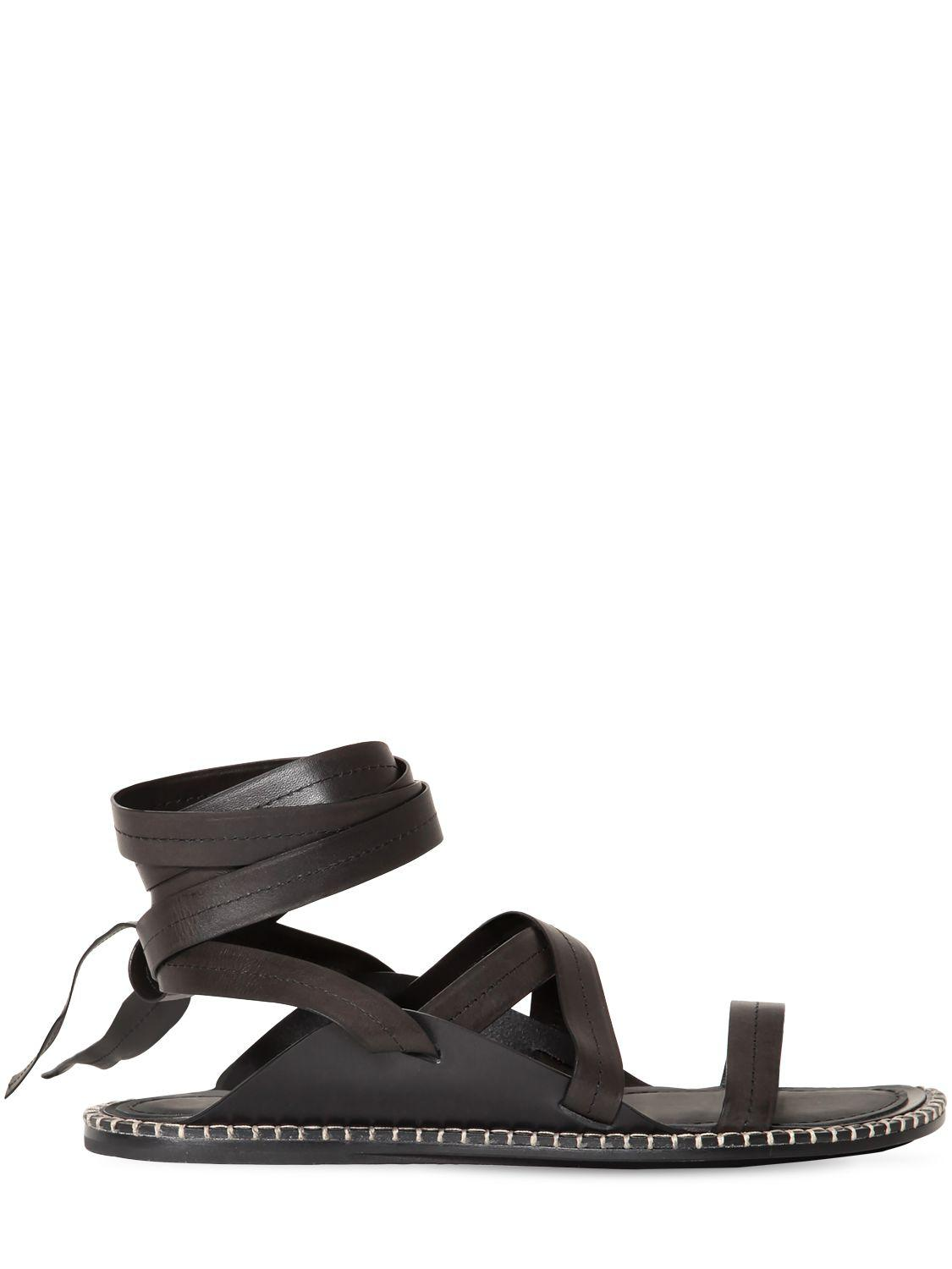 Ann Demeulemeester Leather Strap Sandals In Black White