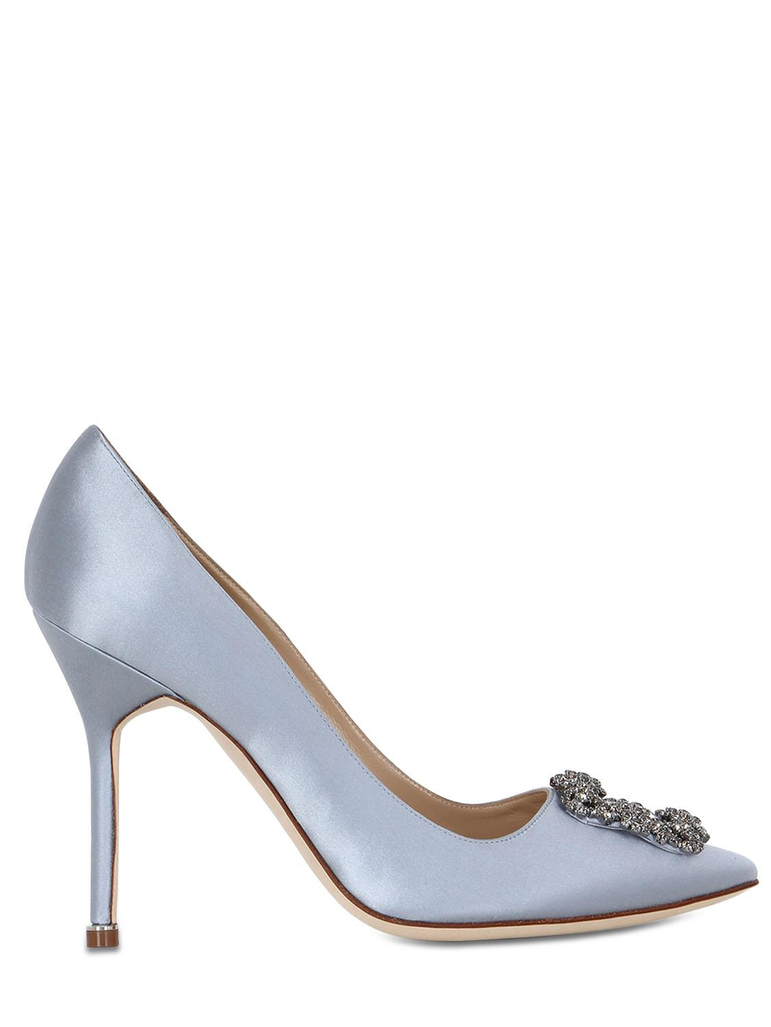 9c252a52fbdf Lyst - Manolo Blahnik 105mm Hangisi Swarovski Silk Satin Pumps in Blue