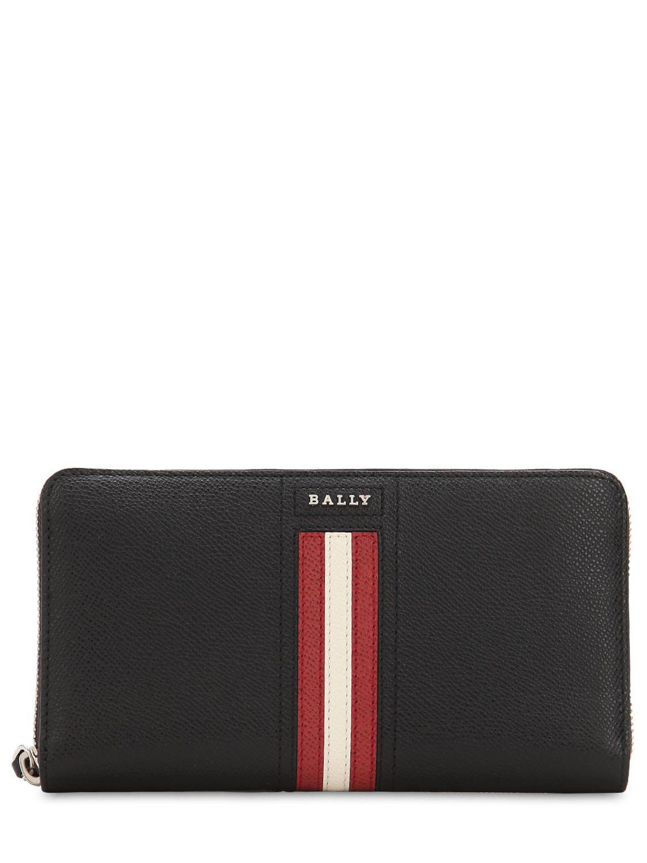 6116f83cd33 Bally - Black Logo Stripe Leather Zip Around Wallet for Men - Lyst. View  fullscreen