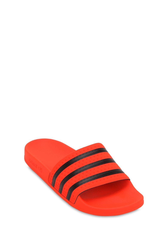 33de15787ff9 Lyst - adidas Originals Adilette Rubber Slide Sandals in Red for Men
