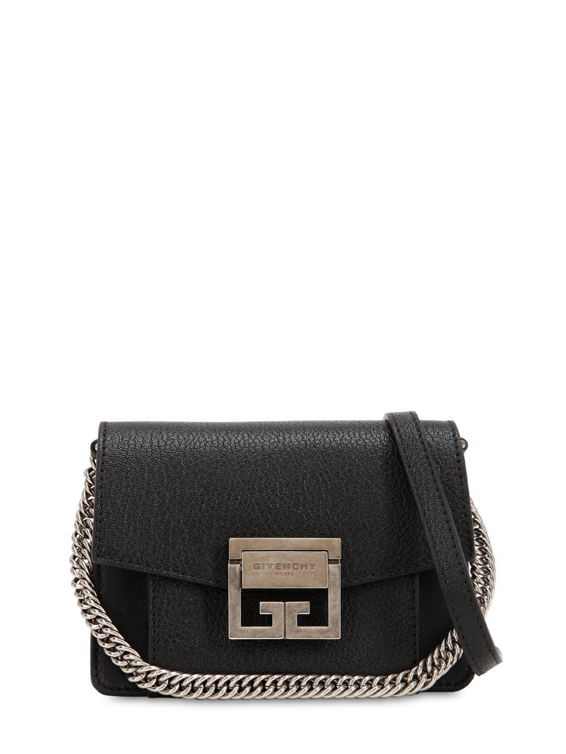 09cfa4359b7 Givenchy Mini Gv3 Grained Leather Shoulder Bag in Black - Lyst
