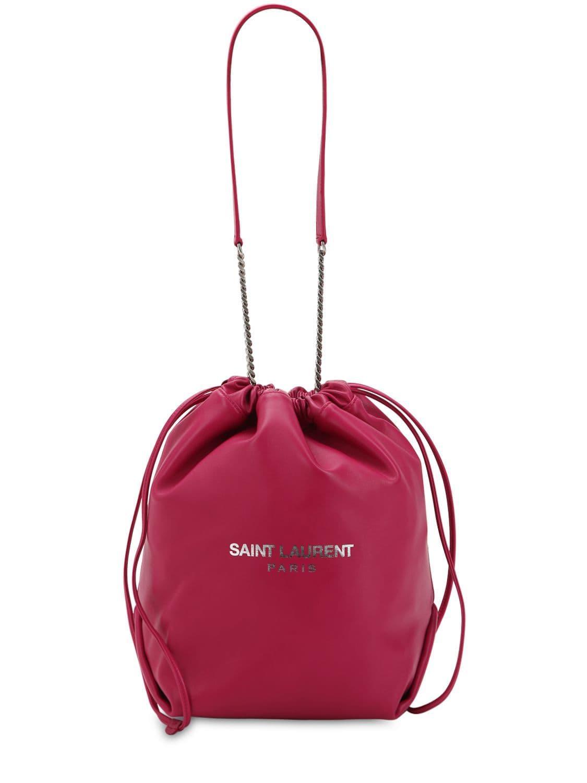 Lyst - Saint Laurent Teddy Sac Leather Bucket Bag in Red c65062e0cf5fe