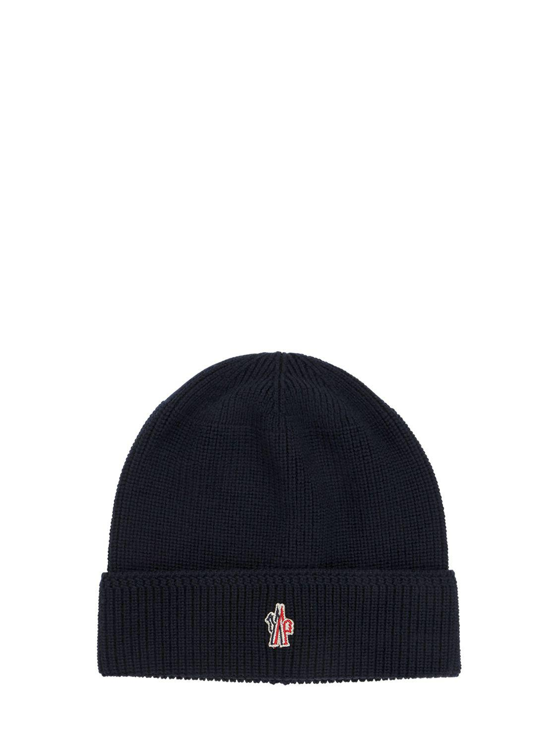 a25784a9ffc Lyst - Moncler Grenoble Logo Patch Wool Beanie Hat in Blue for Men