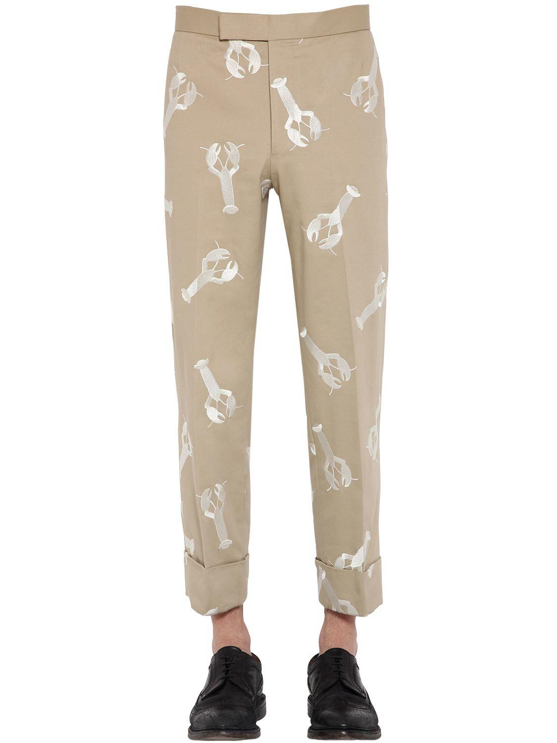 e9de81f576c7 Lyst - Thom Browne Lobster Embroidered Cotton Twill Pants in Natural ...
