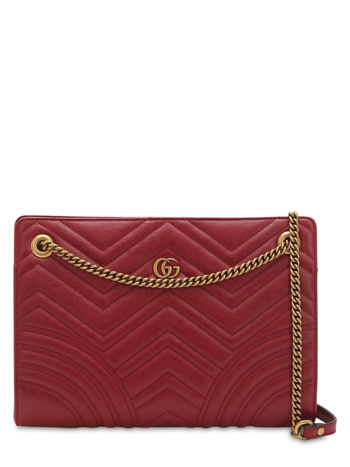 fab0f9457 Lyst - Gucci Gg Marmont Leather Shoulder Bag in Red