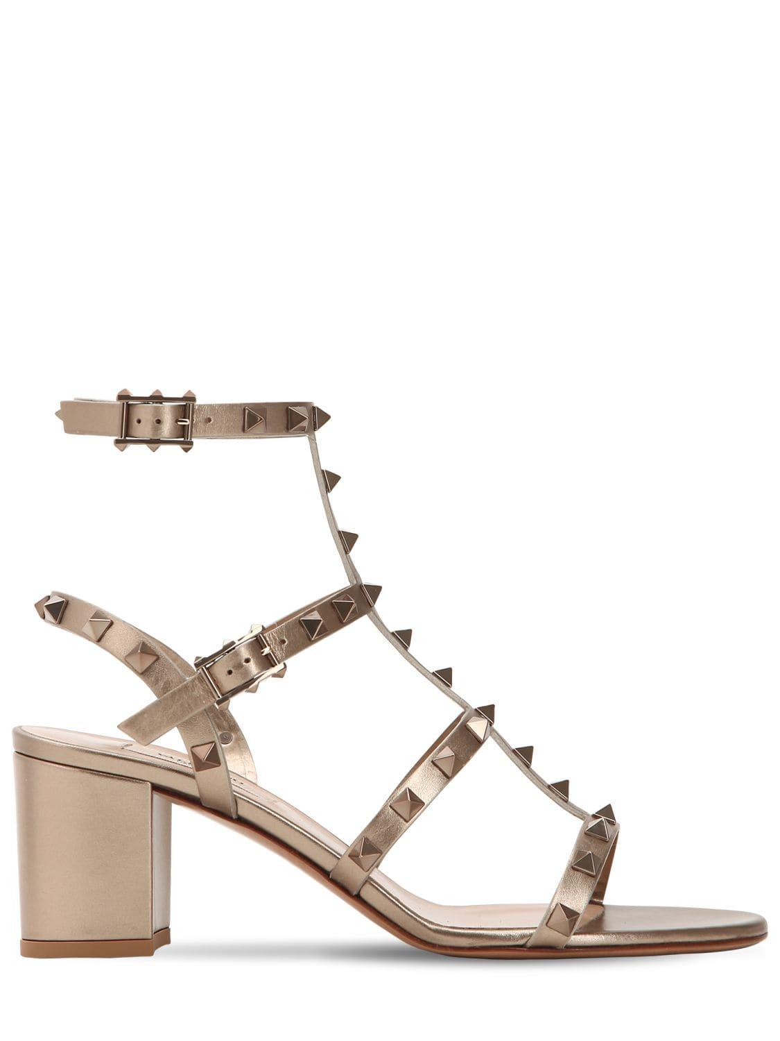 11c2bbe94cb Lyst - Valentino 60mm Rockstud Metallic Leather Sandals in Metallic