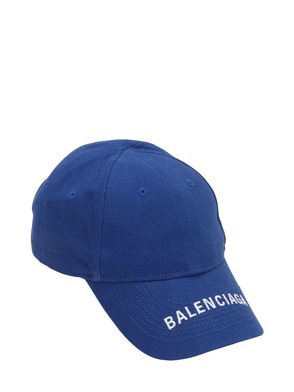 d8bae857a96 Balenciaga - Blue Logo Embroidered Cotton Baseball Hat - Lyst. View  fullscreen