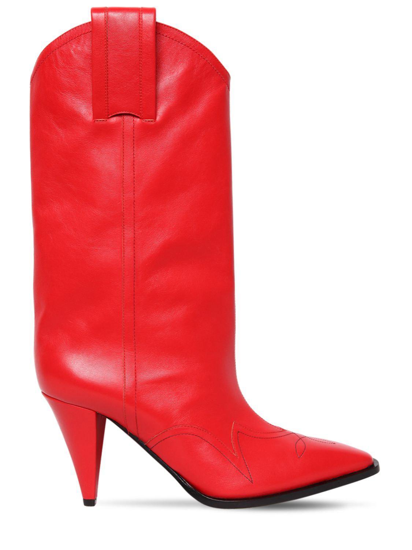 27448397d Botas Cowboy De Piel 90mm Nina Ricci de color Rojo - Lyst