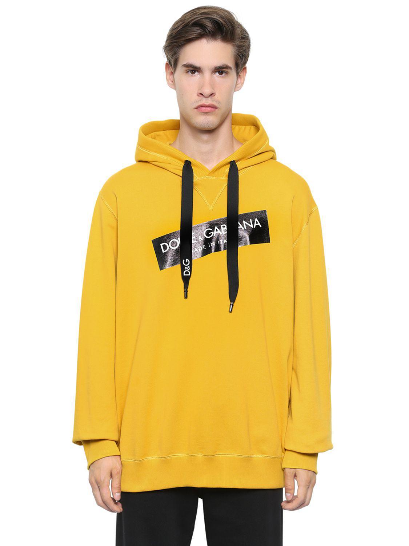 204fa31efb646b Lyst - Sweat-shirt à capuche en coton imprimé avec logo Dolce ...
